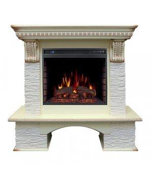 Royal Flame Pierre Luxe сланец мелкий белый с очагом Vision 23 EF LED FX (Cлоновая кость с красной патиной)