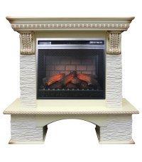 Royal Flame Pierre Luxe сланец мелкий белый с очагом Vision 23 EF LED 3 D FX (Cлоновая кость с красной патиной)